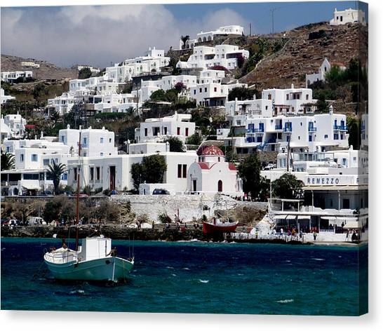 Mykonos Canvas Print by Leena Kewlani