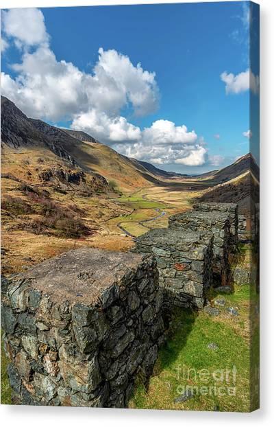 Moorland Canvas Print - Nant Ffrancon Pass Snowdonia by Adrian Evans