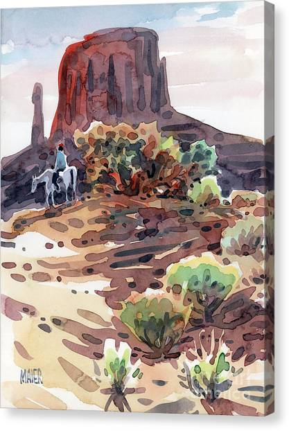 Navajo Rider Canvas Print by Donald Maier