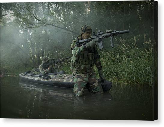 Special Forces Canvas Print - Navy Seals Navigate The Waters by Tom Weber