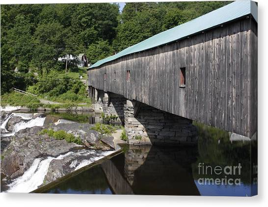 New Hampshire Covered Bridge Canvas Print by Stan and Anne Foster