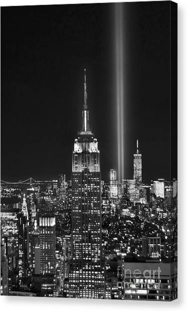 Central Park Canvas Print - New York City Tribute In Lights Empire State Building Manhattan At Night Nyc by Jon Holiday