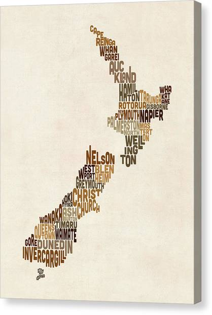 Kiwis Canvas Print - New Zealand Typography Text Map by Michael Tompsett