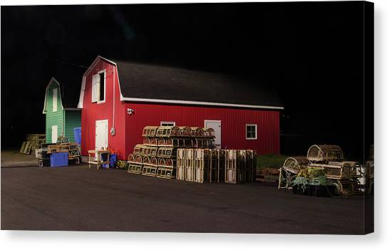 Canvas Print featuring the photograph Nighttime On The Wharf. by Rob Huntley