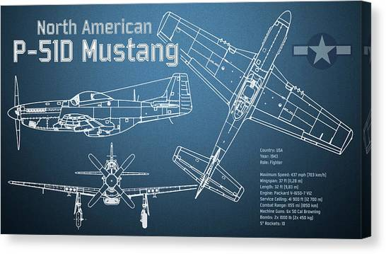 Profile Canvas Print - North American P-51d Mustang Blueprint by Jose Elias - Sofia Pereira