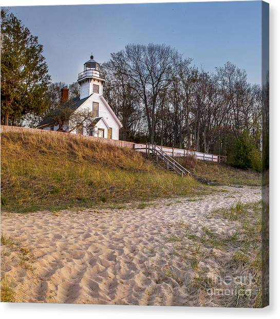 Northern Michigan Canvas Print - Old Mission Peninsula Lighthouse And Shore by Twenty Two North Photography