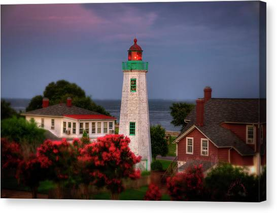 Canvas Print featuring the photograph Old Point Comfort Lighthouse by Williams-Cairns Photography LLC