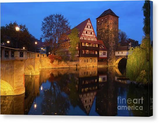 Nuremberg At Night Canvas Print