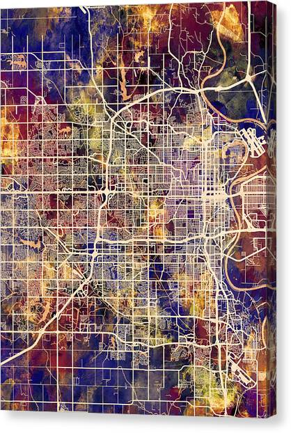 Nebraska Canvas Print - Omaha Nebraska City Map by Michael Tompsett