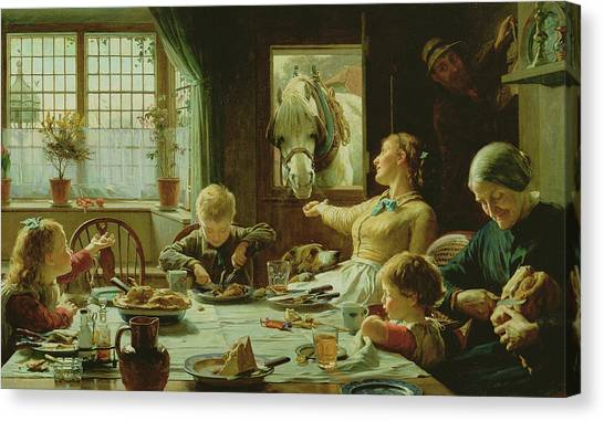 Dinner Table Canvas Print - One Of The Family by Frederick George Cotman
