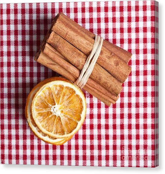 Chequered Canvas Print - Orange And Cinnamon by Nailia Schwarz