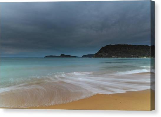 Overcast Cloudy Sunrise Seascape Canvas Print