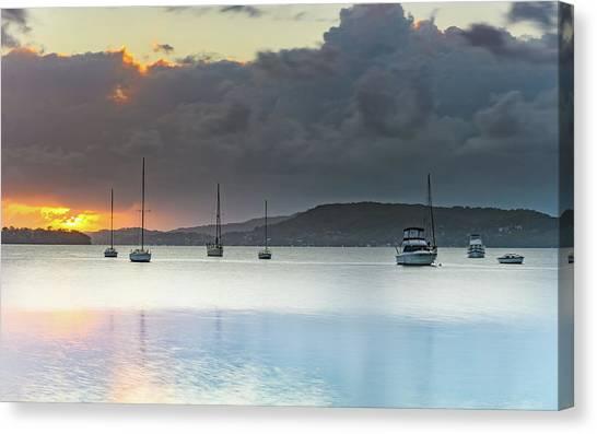 Overcast Sunrise Waterscape Canvas Print