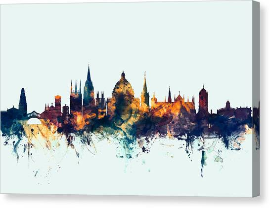 United Kingdom Canvas Print - Oxford England Skyline by Michael Tompsett