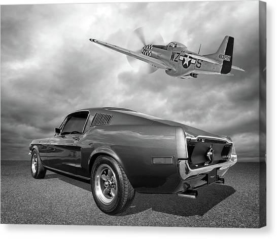 p51 With Bullitt Mustang Canvas Print