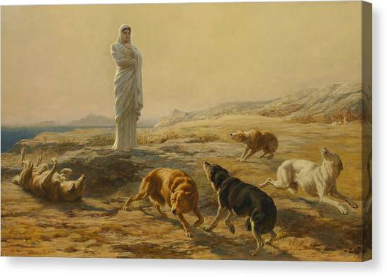 Briton Canvas Print - Pallas Athena And The Herdsman's Dogs by Briton Riviere