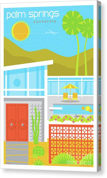 Mirages Canvas Print - Palm Springs Retro Travel Poster by Jim Zahniser