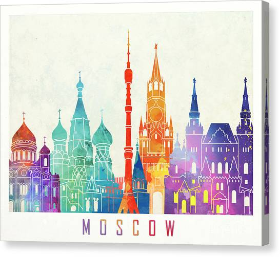 Moscow Skyline Canvas Print - Paris Landmarks Watercolor Poster by Pablo Romero