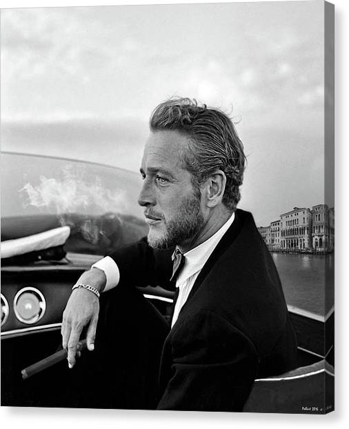 Los Angeles Dodgers Canvas Print - Paul Newman, Movie Star, Cruising Venice, Enjoying A Cuban Cigar by Thomas Pollart