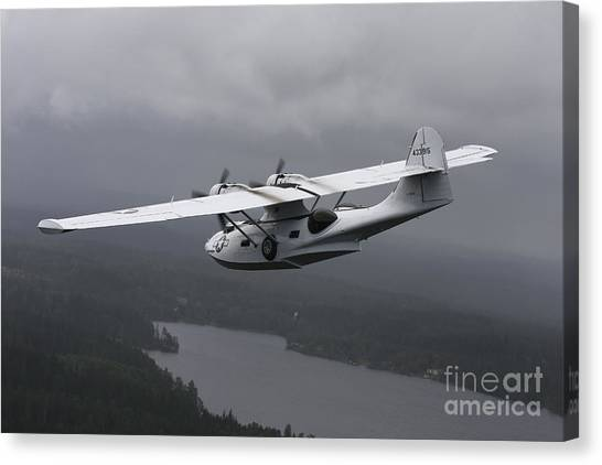 Seaplanes Canvas Print - Pby Catalina Vintage Flying Boat by Daniel Karlsson