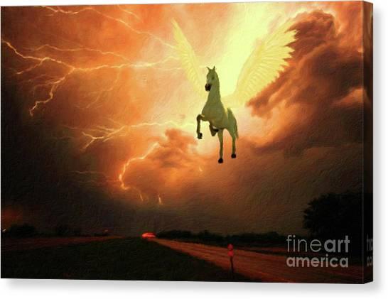 Pegasus Canvas Print - Pegasus By Mary Bassett by Mary Bassett