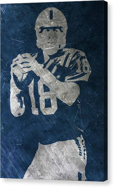 Football Canvas Print - Peyton Manning Colts by Joe Hamilton