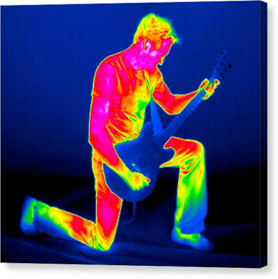 Playing Guitar, Thermogram Canvas Print by Tony Mcconnell