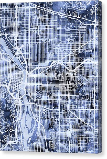 Portland Canvas Print - Portland Oregon City Map by Michael Tompsett