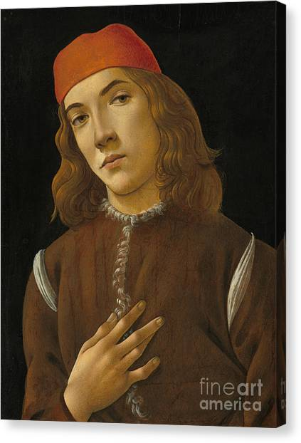 Botticelli Canvas Print - Portrait Of A Youth by Sandro Botticelli
