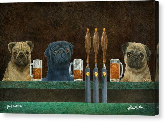 Pugs Canvas Print - Pug Crawl... by Will Bullas