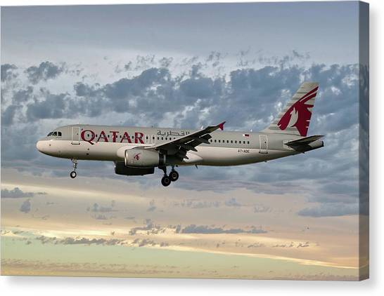 Jet Canvas Print - Qatar Airways Airbus A320-232 by Smart Aviation