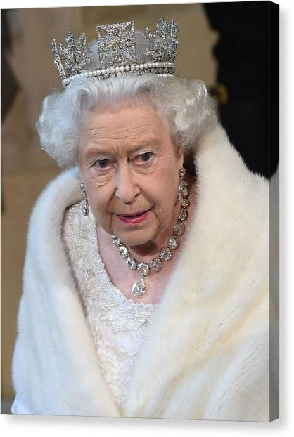 Queen Elizabeth Canvas Print - Queen Elizabeth II by Mariel Mcmeeking