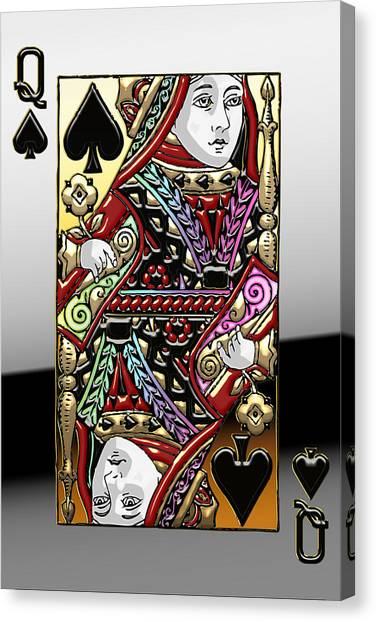 Face Canvas Print - Queen Of Spades  by Serge Averbukh