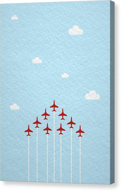 Hawks Canvas Print - Raf Red Arrows In Formation by Samuel Whitton