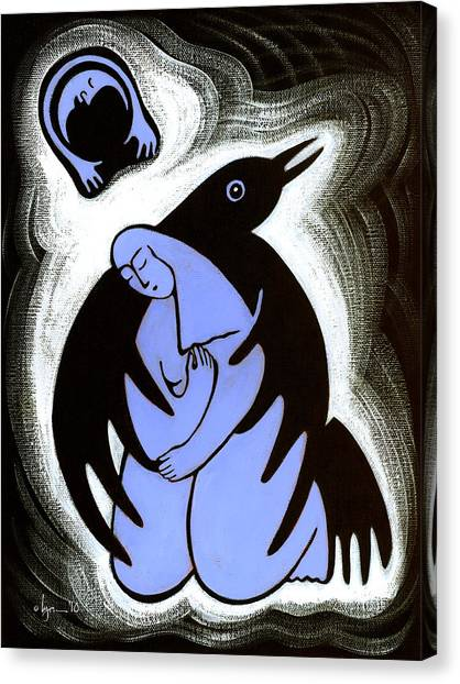Unconditional Love Canvas Print - Raven Holds Me When I Weep by Angela Treat Lyon