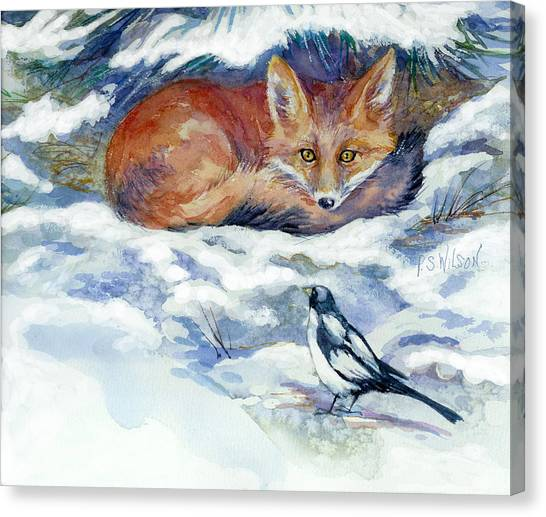 Red Fox With Magpie Canvas Print by Peggy Wilson