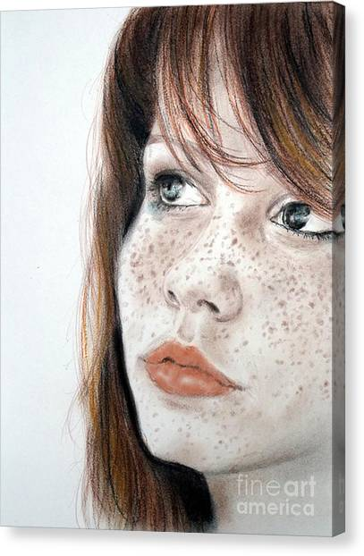 Red Hair And Freckled Beauty Canvas Print
