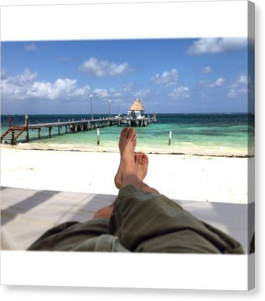 Feet Canvas Print - Relaxing At The Riviera Maya by Juan Silva