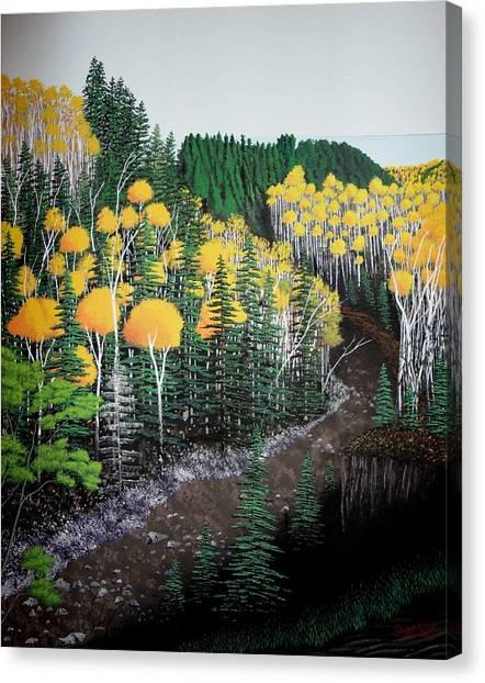 River Through Golden Forest Canvas Print by Dan Shefchik