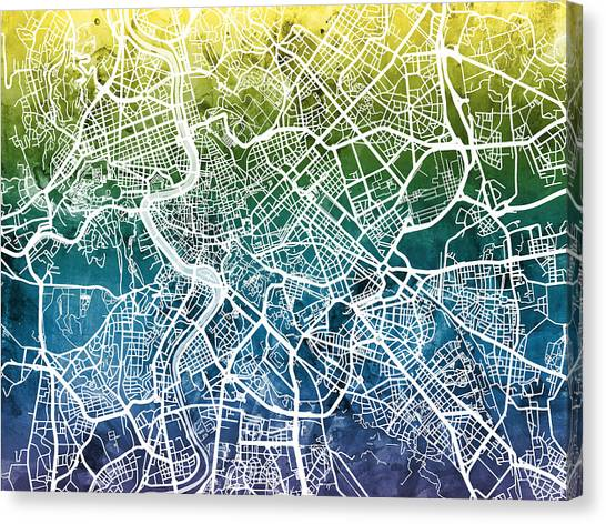 Rome Canvas Print - Rome Italy City Street Map by Michael Tompsett