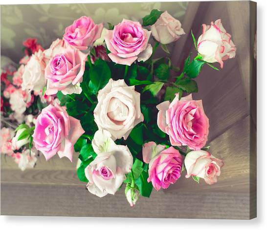 Wedding Bouquet Canvas Print - Roses by Tom Gowanlock
