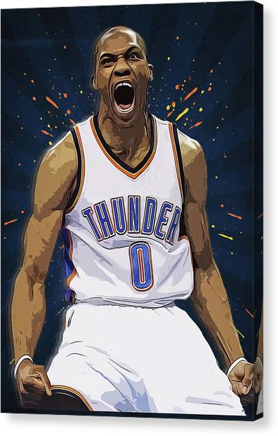Black Mambas Canvas Print - Russell Westbrook by Semih Yurdabak