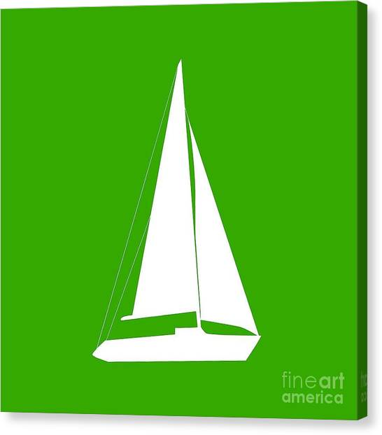 Sailboat In Green And White Canvas Print