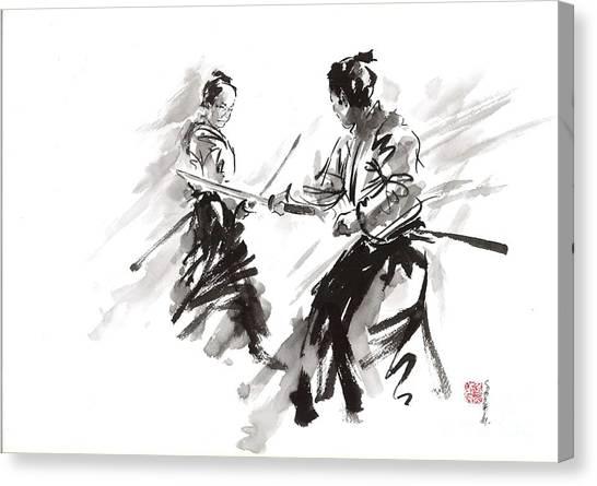 Samurai Canvas Print - Samurai Fight by Mariusz Szmerdt