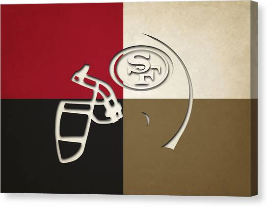 San Francisco 49ers Canvas Print - San Francisco 49ers Helmet by Joe Hamilton