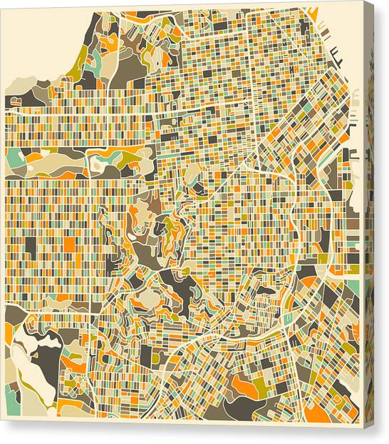Streets Canvas Print - San Francisco Map by Jazzberry Blue