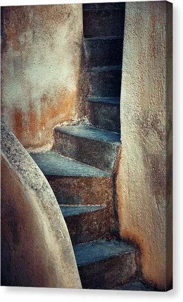 Santorini Island Stairs Canvas Print by Songquan Deng