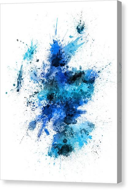 Urban Art Canvas Print - Scotland Paint Splashes Map by Michael Tompsett