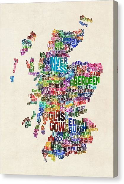 Scottish Canvas Print - Scotland Typography Text Map by Michael Tompsett