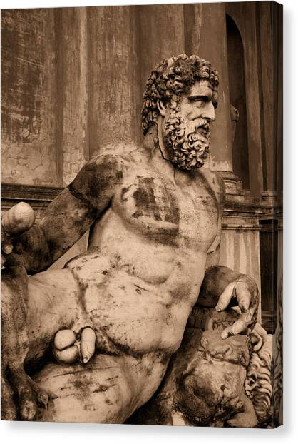 Sculpture Vatican Museum Rome Italy Canvas Print by Wayne Higgs